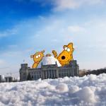 Gnuzo und Botzi bauen einen Iglu auf dem Reichstag