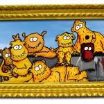 Monstergruppenbild an der Mauer. Von links nach rechts: Kurti, Schmocko, Botzi, Unko, Toffe, Gnuzo, Habba